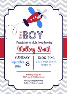 Awesome Airplane Baby Shower Invitation Airplane Boy By PrintYourEvent