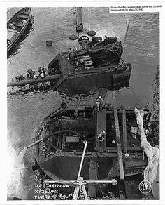 Pearl Harbor Historical Photos : Sunken USS Arizona - Turrets #3 and 4