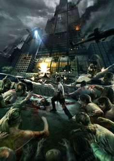 Zombie Assault On Sears Tower Zombie Rpg, Art Zombie, Zombie Assault, Zombie Plague, Apocalypse Landscape, Apocalypse Art, Apocalypse Aesthetic, Zombie Kunst, Post Apocalyptic Art