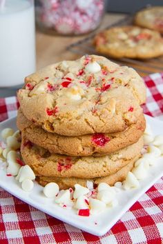 Peppermint White Chocolate Chip Cookies Because the holidays always have me obsessed with this combo!