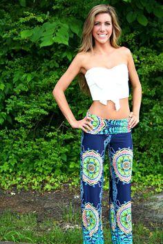 Navy Paisley Yoga Pants