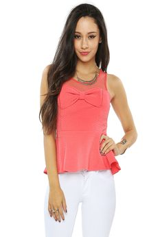 Not crazy about the color or material, but I love bows and peplum tops.