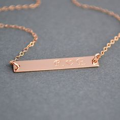 Rose Gold Bar Necklace, Personalized Bar Necklace, Monogram Bar Necklace, Everyday Jewelry by malizbijoux. Explore more products on http://malizbijoux.etsy.com