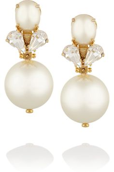 Lele Sadoughi | Gold-plated faux pearl and crystal earrings | NET-A-PORTER.COM