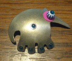 Vintage Retro Sterling Silver Ant Eater Pin #Unbranded