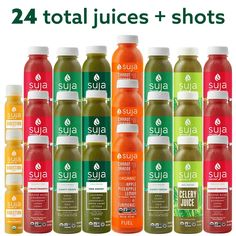 Suja Juice Cleanse, Organic Juice Cleanse, 3 Day Cleanse, Kale Juice, Turmeric Juice, Celery Juice, Organic Water, Ginger Apple, Cold Pressed Juice