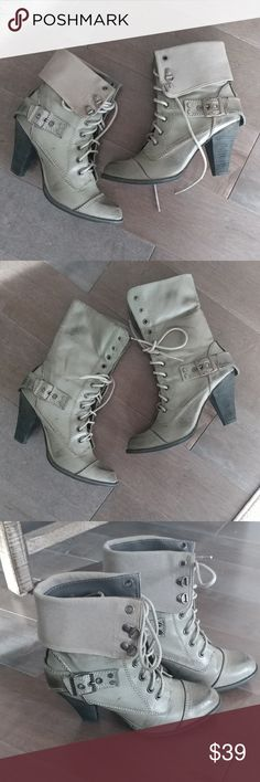 Buckle Boots Gently worn boots, purchased from Victoria Secret. Distressed faded military green. Can be worn as a bootie or midcalf boot. Not Rated Shoes Heeled Boots