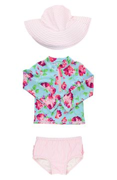 6bd5feb46d42a RuffleButts Life is Rosy Two-Piece Rashguard Swimsuit & Hat Set. Toddler  Girl's ...