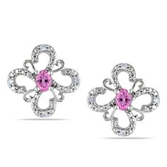 Miadora 10k White Gold Sapphire and Diamond Flower Earrings, Women's