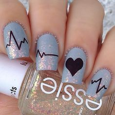 Medical. Heart nails. Essie. romantic. love. Nail Art. Nail Design. Polishes. Polish. Polished. Instagram by @badgirlnails