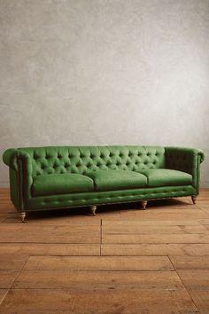 Linen Grand Lyre Chesterfield Sofa, Wilcox - anthropologie.com