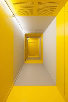 Design Detail - The Entrances To These Apartments Are Highlighted In Yellow - Hamonic + Masson & Associés and Comte Vollenweider Design Hall, Corridor Design, Installation Architecture, Interior Architecture, Interior Design, Interior Styling, Hotel Corridor, Home Pictures, Shades Of Yellow