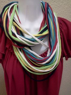 Multicolored T Shirt Necklace by LonestarFashions on Etsy, $15.00