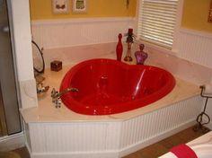 Bathroom Mesmerizing Romantic Valentine Ideas With Red Love Bathtub And Ceramic Flooring Design