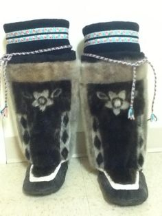 Inuit made women's sealskin kamiks by Natasha Hughes SOLD for $610