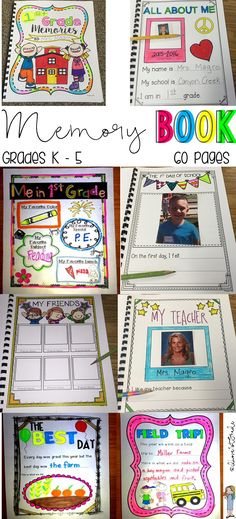 For grades K-6 - 60 pages to choose from so that you can make the memory book that best suites your students!