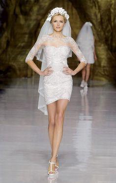 vestido de noiva curto manga media