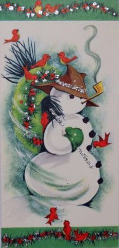 923-60s-Glittered-Snowman-Birds-Vintage-Christmas-Card-Greeting