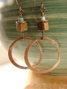 Copper Hoop Earrings. $24.00, via Etsy.