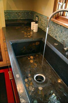 Concrete Sink. Visit NuConcrete.com for all Concrete_Design & Installation.