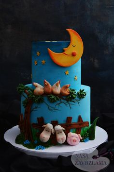 Sleeping Farm Animals - cake by Nasa Mala Zavrzlama Isn't this adorable? Fancy Cakes, Cute Cakes, Sweet Cakes, Yummy Cakes, Farm Animal Cakes, Farm Animals, Fondant Cakes, Cupcake Cakes, Farm Animal Birthday