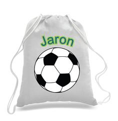 Football bag, kids drawstring bag, personalized drawstring bag ...