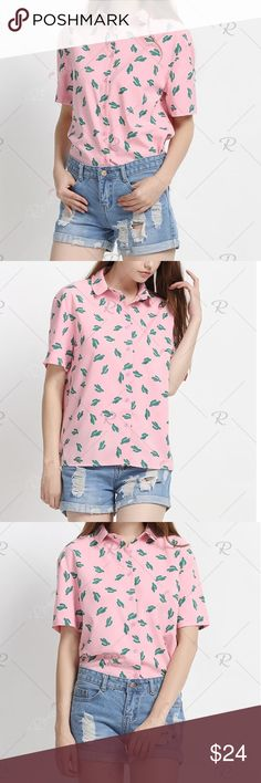 💚Cactus Button Down Shirt How cute is this shirt? It features an adorable cactus print and an oversized fit. Brand new with tags. Tops Button Down Shirts