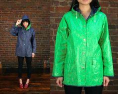 Vintage Reversible Slicker Jacket Vinyl Rain Coat by ontheprowl, $88.00