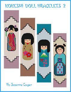 Kokeshi Doll Bracelets Pattern 2 at Sova-Enterprises.com