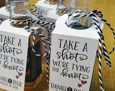 Set of 25 CUSTOMIZABLE Take a Shot We Tied The Knot Favor Tag   Etsy Wedding Favours Bottles, Wedding Favours Thank You, Bridal Shower Favors, Engagement Party Favors, Bachelorette Party Favors, Mini Liquor Bottles, Tie The Knot Wedding, Mini Champagne, Champagne Flutes