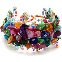 The ultimate bracelet that will go with just about anything you put on.  http://www.overstock.com/Main-Street-Revolution/Bleek2Sheek-Rainbow-Mother-of-Pearl-Bead-Weave-Bracelet/6731287/product.html?CID=214117 $10.99