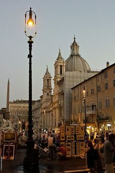 Piazza Navona in Rome, Italy ~street   vendors, breathtaking fountains, absolutely beautiful for a late night walk   around the streets of Rome