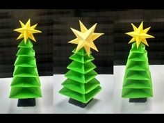 Christmas is coming and in festive season, Decorating home and offices with paper Christmas tree give beautiful look. These paper Christmas tree looks bea. Outdoor Christmas Tree Decorations, 3d Christmas Tree, Christmas Origami, Christmas Is Coming, Origami Tree, Origami Tutorial, 3d Paper, Craft Work, Festive