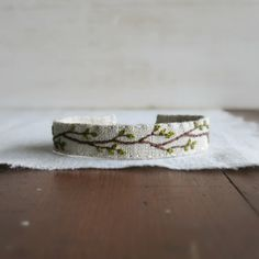 Spring Branch Cuff Bracelet - Hand Embroidered Spring Branch on Natural Linen