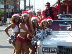 At the Houston Thanksgiving day parade with Houston Rockets cheerleaders