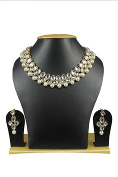 Ebay White Pearls Indian Bollywood Kundan Wedding Wear Necklace Jewelry Set #natural_gems15 #GoldPlated