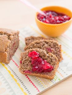 Leftover Cranberry Sauce Bread |  via @Oh My Veggies   (Oh My Veggies)