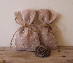 Rustic wedding favor bags 10 pc dot tulleburlap  by myRusticDream, $23.00