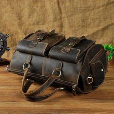 505ceedf642cf Genuine Leather Mens Vintage Black Coffee Cool Weekender Bag Travel Bag  Shoulder Bag for men