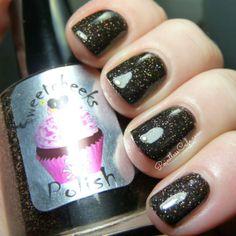 Sweetcheeks Polish: Gothic Ember and Shattered Nuclei Swatch, Gothic, Shots, Nail Polish, Nail Art, Nails, Beauty, Finger Nails, Goth