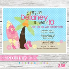 Surfs Up Girl  236 Birthday Party Invitation by PinkPickleParties, $10.00