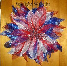 Patriotic Starburst Mesh Wreath, Red, White and Blue Foil Mesh, Starburst Spray Middle Patriotic Crafts, Patriotic Wreath, July Crafts, 4th Of July Wreath, Deco Mesh Crafts, Wreath Crafts, Diy Wreath, Wreath Ideas, Deco Mesh Wreaths