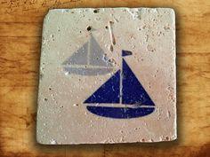 Sailor ship mugs coaster natural stone,Tumbled Travertine,beer coaster print,home decor,retro coaster