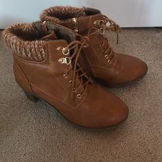Brown lace up boots Cute brown lace up boots. Gives a classic look a feminine touch. Like new. Bella marie  Shoes Lace Up Boots