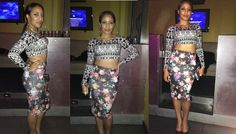 Get the Look: Zara Floral Midi Skirt, Geometric Crop Top, & BCBG Gunmetal Pumps