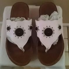 Sonoma Streak White Leather Sandals 10% off 2+ bundle! :-)  Leather upper. Balance man-made materials. In good condition! Size 7M. Sonoma Shoes Sandals
