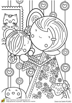 Cute Coloring Pages, Cartoon Coloring Pages, Adult Coloring Pages, Coloring Pages For Kids, Coloring Books, Mothers Day Drawings, Art Drawings For Kids, Easy Drawings, Art For Kids