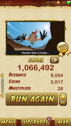 I got 1066492 points while escaping from a Giant Demon Monkey. Beat that! http://bitly.com/TempleRun2iOS
