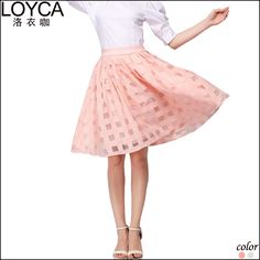 nice LOYCA Summer time Strong Nylon uppers Grid Tutu Dresses Ladies Style Plaid Dress Red Organza Dresses Woman United states Clothing Grownup Midi Dress