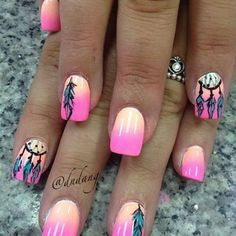 Nails Spring Summer Nail Art And Manicure Trends - Nail Art Cute Nail Art, Cute Nails, Pretty Nails, Dream Catcher Nails, Dream Catchers, Feather Nail Art, Feather Nail Designs, Nagel Hacks, Manicure Y Pedicure